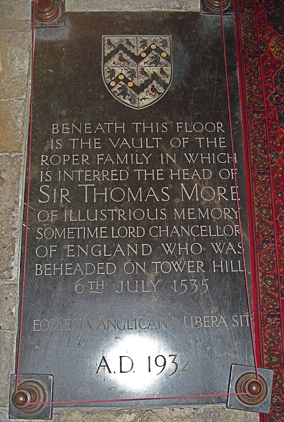 Sir Thomas More family's vault in St Dunstan's Church (Canterbury)