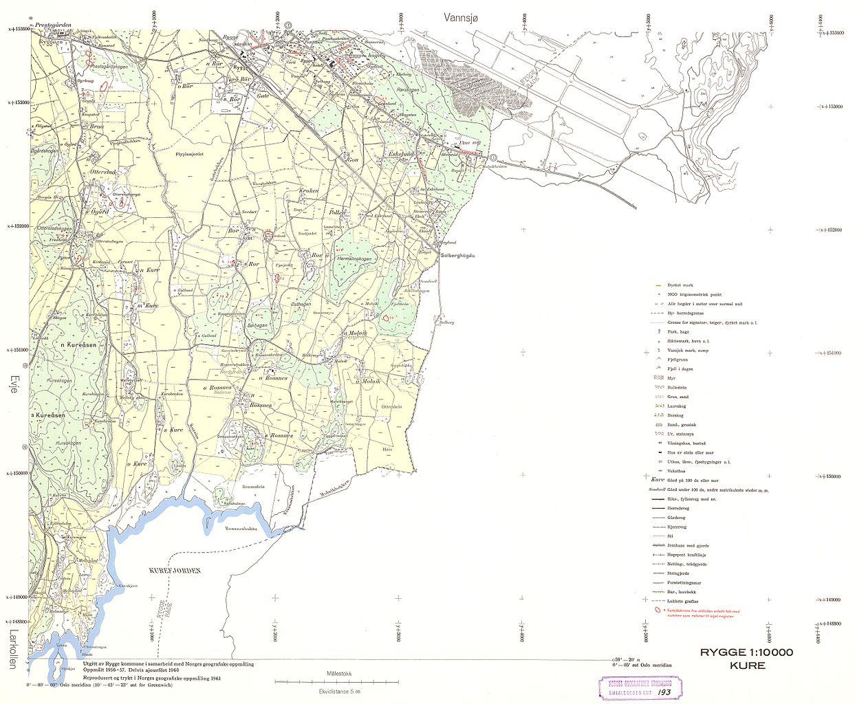 oslo rygge kart File:Smålenenes amt nr 193 3  Kart over Rygge; Kure, 1961.  oslo rygge kart