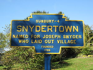 Snydertown, Northumberland County, Pennsylvania - Image: Snydertown, PA Keystone Marker