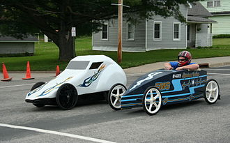 Gravity racer - Soapbox cars at the finish line of a race