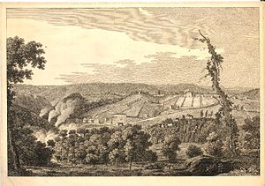 Thomas Smith (English painter) -  South West Prospect of Coalbrook Dale, 1758 engraving by François Vivares after Smith and George Perry.