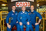 Soyuz MS-12 backup crew members in front of their spacecraft.jpg