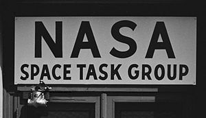 Space Task Group - Sign on the Space Task Group building in June 1961