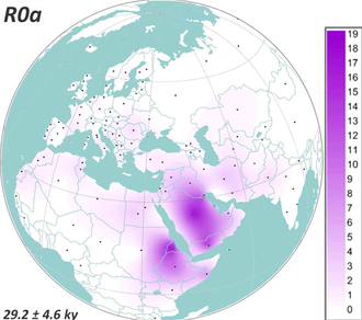 Haplogroup R0 (mtDNA) - Image: Spatial frequency distribution maps of mt DNA haplogroup R0a