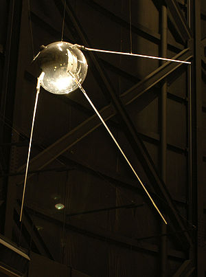 History of spaceflight - A replica of Sputnik 1 on display.