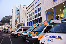 St Bernard's Hospital with GHA Ambulances.jpg