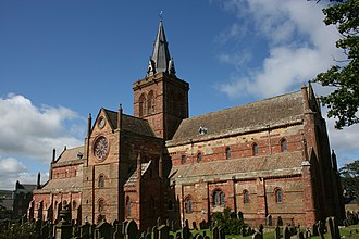 Old Red Sandstone - St Magnus Cathedral, Kirkwall, Orkney, constructed of locally quarried sandstone.
