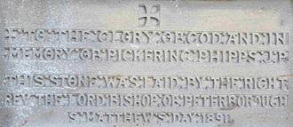 St Matthew's Church, Northampton - Foundation stone, laid on St Matthew's Day 1891
