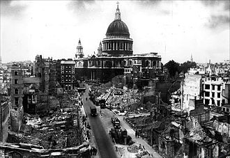 WWII bomb damage advanced the move to preserve architecturally significant buildings. St Paul destroyed.jpg