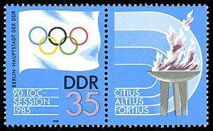 International Olympic Committee - 1985 German Democratic Republic stamp