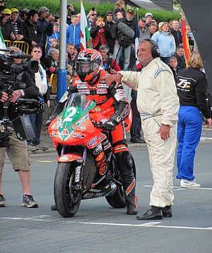 Isle of Man TT - Winner of the 2012 Lightweight TT Ryan Farquhar 650 cc Kawasaki, (2) at the startline