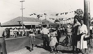 Mount Gravatt, Queensland - Crowd observing the first tram through the suburb in 1951