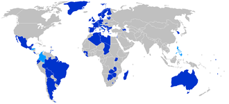 Convention relating to the Status of Stateless Persons - States parties and signatories to the 1954 Convention relating to the Status of Stateless Persons. States parties are dark blue; non-states parties that have signed the Convention are light blue