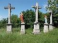Statues at the Belvárosi Calvary chapel, Esztergom, Hungary.jpg