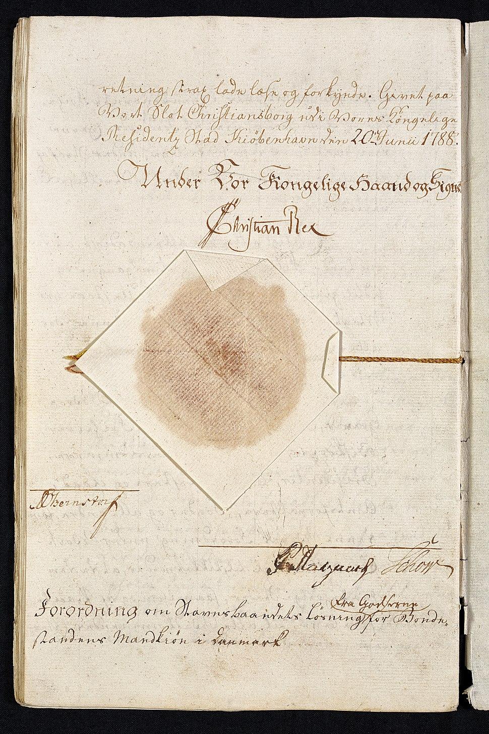 Stavnsbåndet ophæves - kongens underskrift