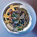Stereographic image of gathering at Piazza Pietro Pensa during Wikimania 2016 Esino Lario.jpg