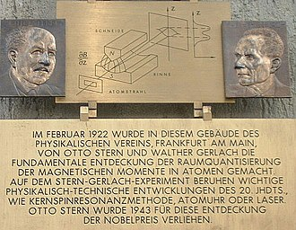 Stern–Gerlach experiment - A plaque at the Frankfurt institute commemorating the experiment