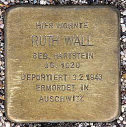 Photo of Ruth Wall brass plaque
