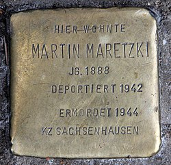 Photo of Martin Maretzki brass plaque