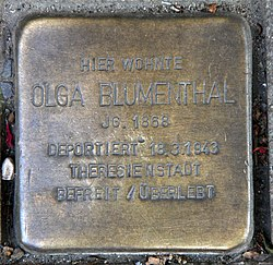 Photo of Olga Blumenthal brass plaque