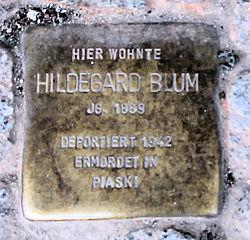 Photo of Hildegard Blum brass plaque