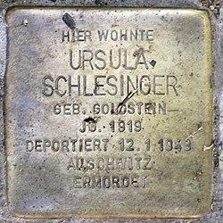 Photo of Ursula Schlesinger brass plaque