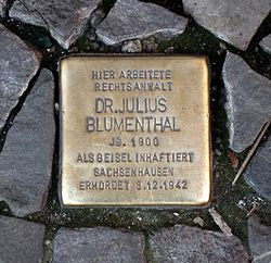 Photo of Julius Blumenthal brass plaque