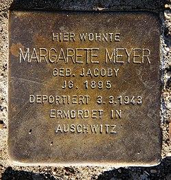 Photo of Margarete Meyer brass plaque