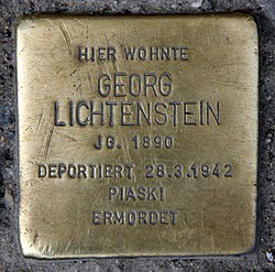 Photo of Georg Lichtenstein brass plaque