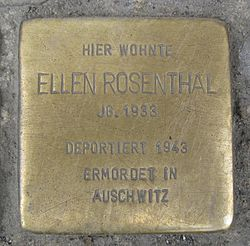 Photo of Ellen Rosenthal brass plaque