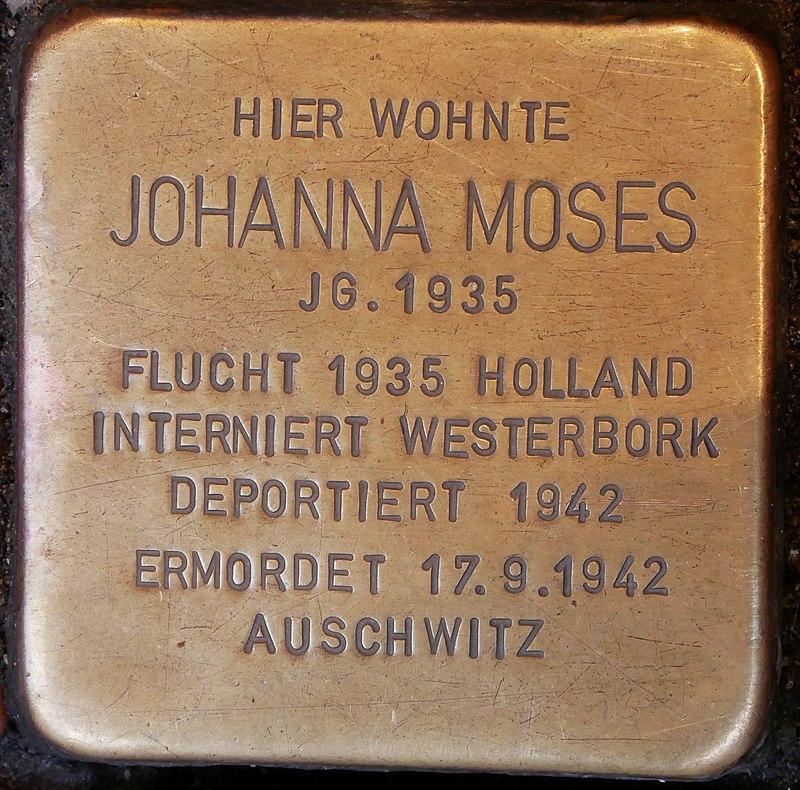 Stolperstein Neustr 35 Dinslaken Moses Johanna