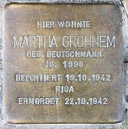 Photo of Martha Grohnem brass plaque