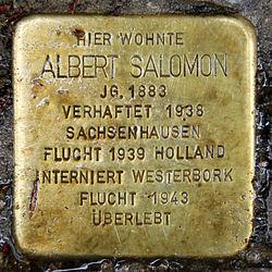 Photo of Albert Salomon brass plaque