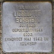 Stolpersteine Köln, Lieselotte Eckstein (Im Weichserhof 8).jpg