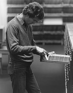 Student using the card catalogue in the library, 1981.jpg