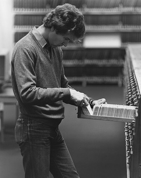 File:Student using the card catalogue in the library, 1981.jpg