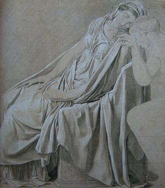 Oath of the Horatii - Study for Camilla, black chalk and white highlights