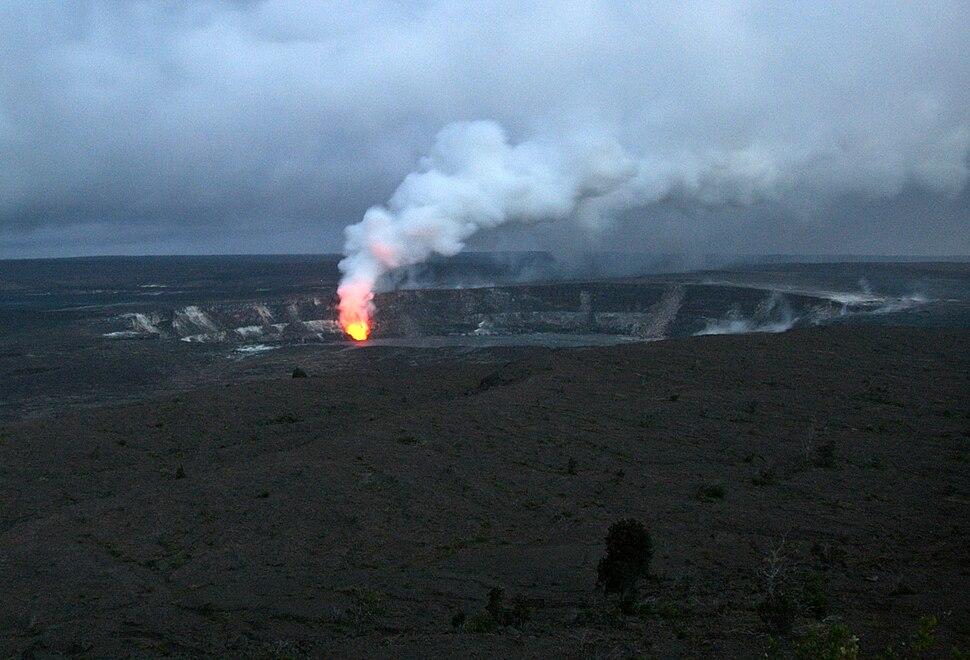 Sulfur dioxide emissions from the Halema`uma`u vent, glows at night