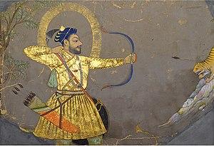 Adil Shahi dynasty - Sultan Ali Adil Shah II hunting a tiger, c 1660