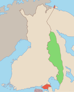 Anticipated territorial changes of the People's Republic. Green indicates the area intended to be ceded to the Finnish Democratic Republic and red the area intended to be ceded from Finland to the Soviet Union.