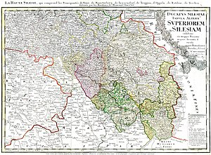 Upper Silesia - 1746 map of Upper Silesia, Homann heirs, Nuremberg