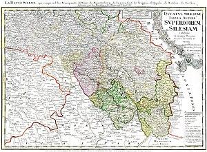 Upper Silesia - 1746 map of Upper Silesia, Homann heirs, Nuremberg