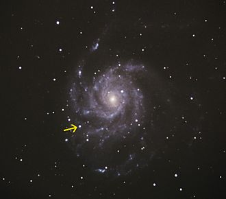 Pinwheel Galaxy - Image: Supernova in M101 2011 08 25