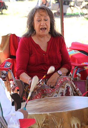 "Lakota people - Mildred ""Midge"" Wagner, a Lakota woman, performing in 2015"