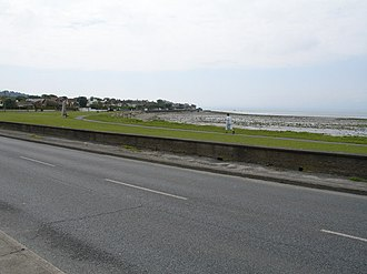 Sutton, Dublin - The top of Strand Rd. can be seen here, this area of has been the victim of flooding and flood defencement measures have been put in place.