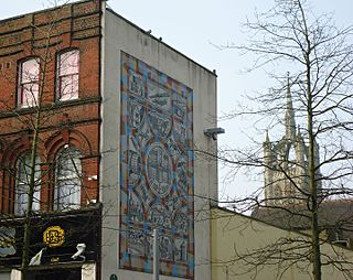 large mural mosaic in Sutton High Street, London, England