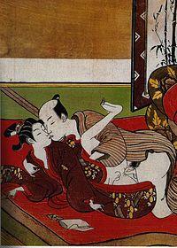 Suzuki Harunobu, détail d'un Shunga, gravure japonaise érotique, vers 1750.