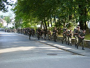 Conscription in Switzerland - A Swiss Army exercise near Glarus