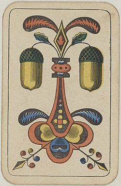 Swiss card deck - 1850 - 2 of Acorns.jpg