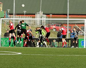 B68 Toftir - B68 vs. TB Tvøroyri in the final round of Effodeildin. Both teams struggled in order not to get relegated. B68 won the match 4–1, but it was not enough, the needed to win with 4 goals. This photo is from the one of the final minutes, where even the goal keeper of B68 is trying to make a goal.
